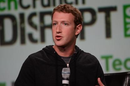 Facebook CEO Mark Zuckerberg speaks on stage at the TechCrunch Disrupt conference in San Francisco on September 11, 2013.
