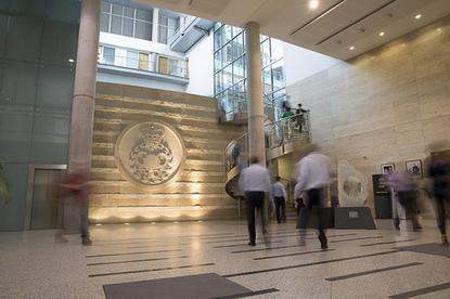 The foyer of the UK's GCHQ intelligence agency in Cheltenham, UK