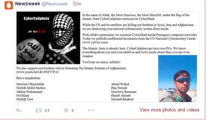 Newsweek's page as it appeared on Twitter after it was hacked.