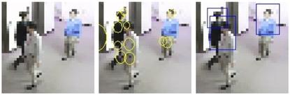 Fujitsu has developed image-processing technology that takes an input (left), identifies possible heads and torsos (center) and finally identifies multiple people. Fujitsu Laboratories said its technology is the first of its kind that can detect people from low-resolution imagery in which faces are indistinguishable.