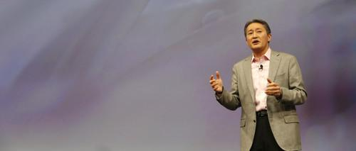Sony CEO Kaz Hirai speaks at CES 2015 in Las Vegas on January 5, 2015