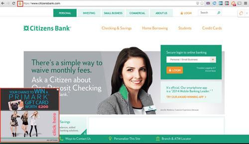 In the below screenshot, for example, the Ad Options ad network has inserted an unwanted ad on the home page of the Citizens Bank website.