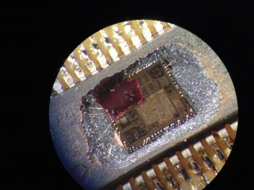 A photo of the embedded microchip inside a CyberLock.