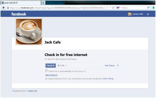 Free Wi-Fi offer on Facebook