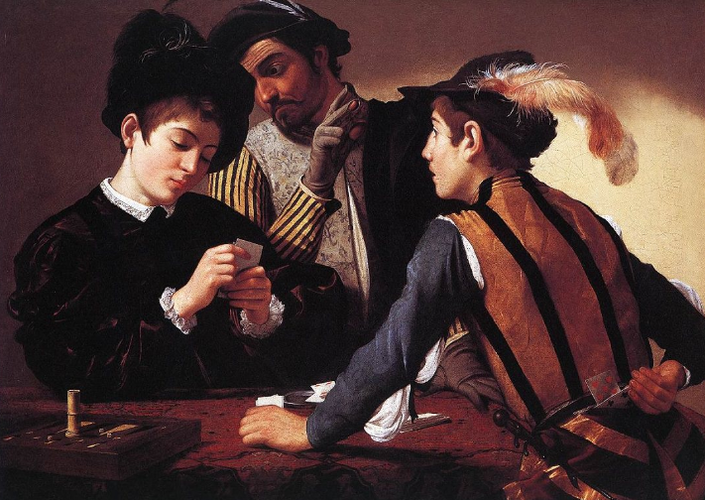 The Cardsharps by Master Painter Caravaggio