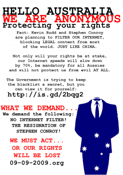 Anonymous' flyer against the government's Net censorship.