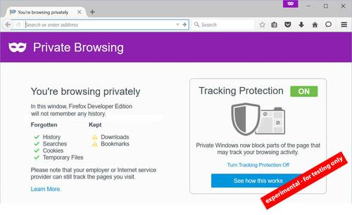 Firefox's experimental anti-tracking tool, pictured Aug. 14, 2015.