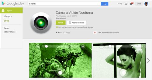 If you download this night vision camera app it will cost you.