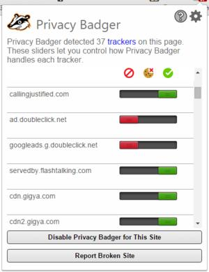 Privacy Badger version 1.0 in action.