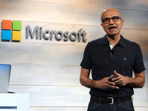 CEO Satya Nadella at Microsoft's cloud event in San Francisco Oct. 20