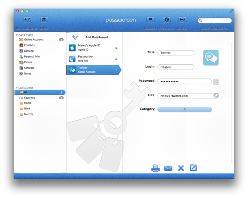 Passwarden's main user interface allows you to organize records in categories you define.