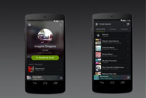 The Spotify music service on an Android phone