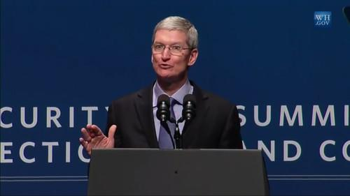 Tim Cook speaks at the White House Summit on Cybersecurity and Consumer Protection at Stanford University. (Screenshot from live Web conference.)
